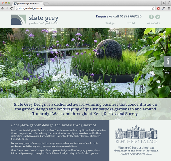 Wordpress website design for  a garden design & landscaping company based near Tunbridge Wells
