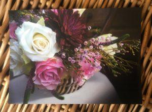 Informal flowers in basket postcard for Bedgebury Blooms