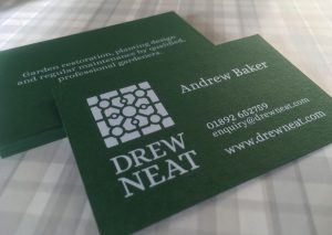 Drew Neat Business Card white ink on Forest Green GF Smith paper